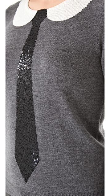alice + olivia Delray Sequin Tie Sweater
