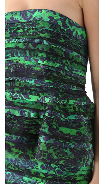 alice + olivia Mal Strapless Peplum Gown