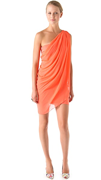 alice + olivia Chiffon One Shoulder Drape Dress