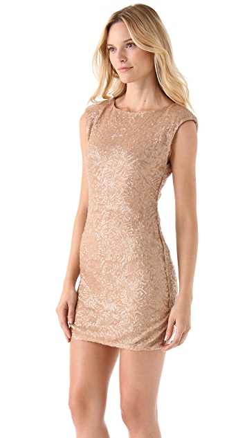 alice + olivia Wide Neck Sequin Dress