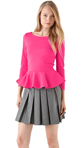 alice + olivia Patty Peplum Top