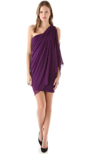 alice + olivia Drape One Shoulder Dress