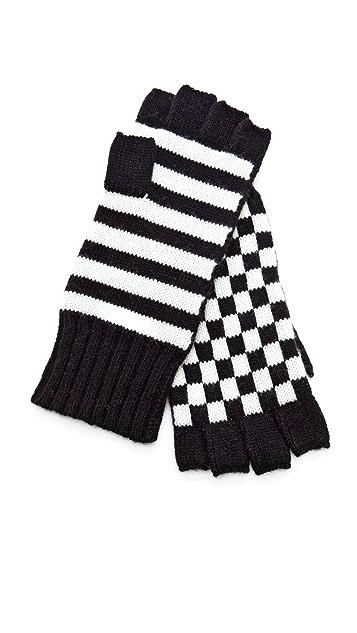 alice + olivia Check Stripe Gloves