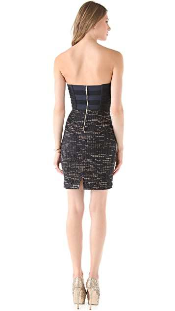 alice + olivia Niki Ruched Bustier Dress