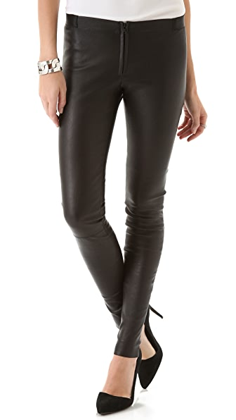 alice + olivia Front Zip Leather Leggings