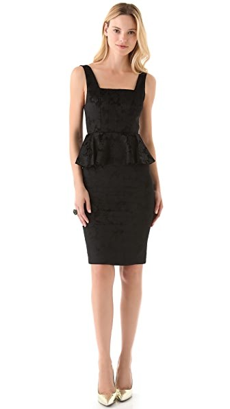 alice + olivia Yodi Square Neck Dress with Peplum