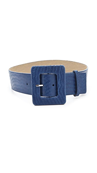 alice + olivia Polished Lizard Wide Belt