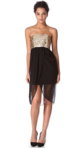 alice + olivia Draped Sequin Tulip Dress