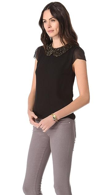 alice + olivia Maura Beaded Collar Top