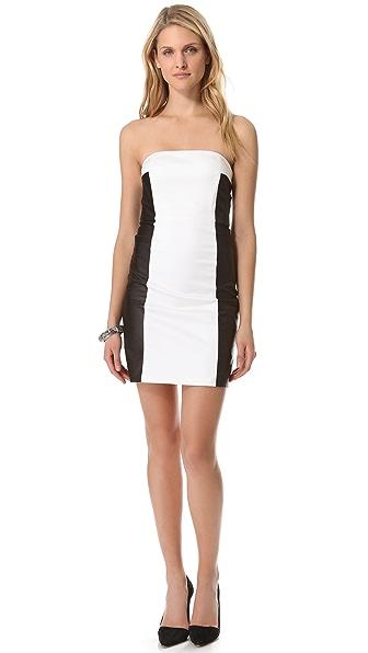 alice + olivia Sylvia Leather Colorblock Dress
