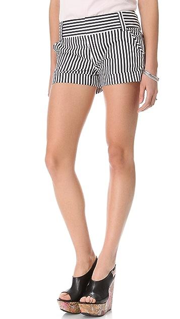 alice + olivia Striped Cady Cuff Shorts