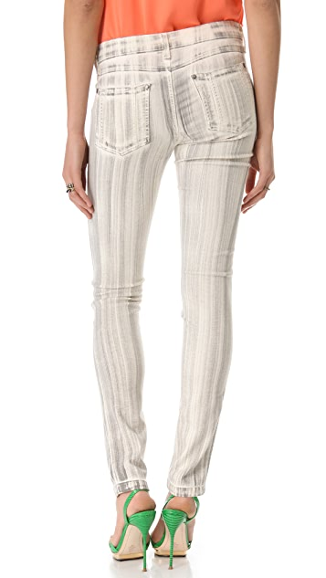 alice + olivia Brushed 5 Pocket Skinny Jeans