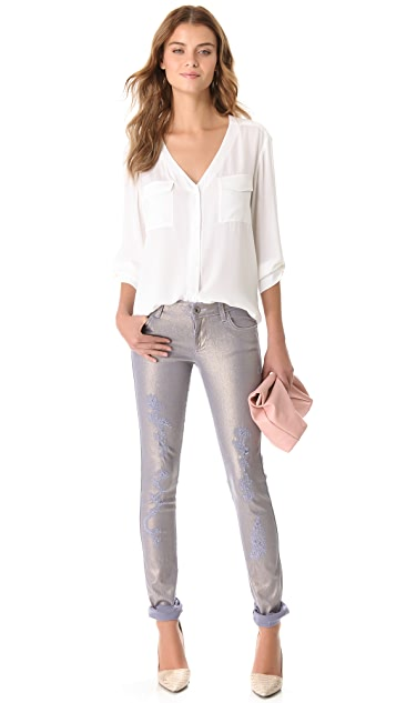 alice + olivia 5 Pocket Destroy Jeans