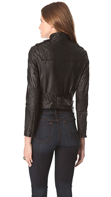 alice + olivia Quilted Zip Moto Jacket