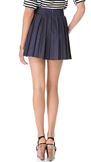 alice + olivia Chambray Box Pleat Skirt
