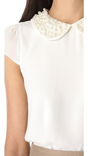 alice + olivia Bali Beaded Collar Top