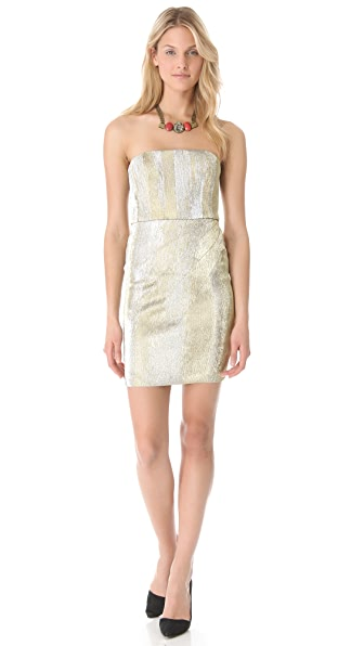 alice + olivia Bowen Metallic Strapless Dress
