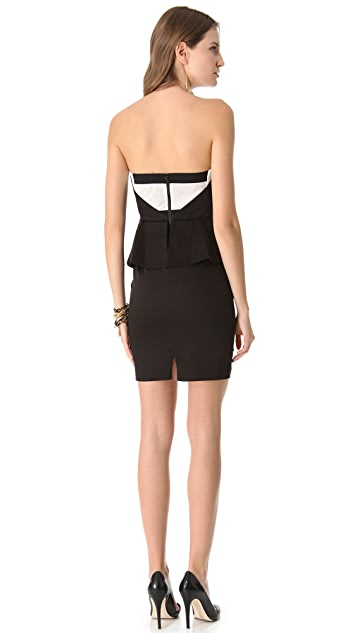 alice + olivia Lina Peplum Strapless Dress