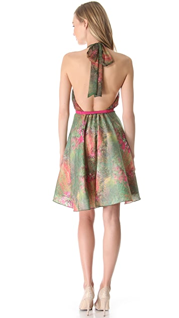alice + olivia Bliss Gathered Halter Dress