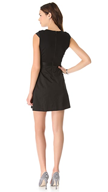 alice + olivia Leather Cap Sleeve Dress