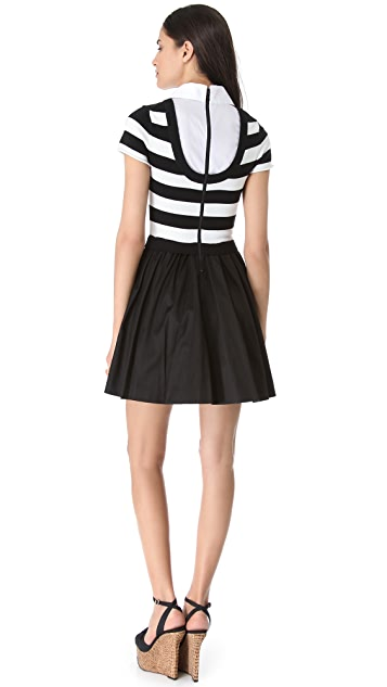 alice + olivia Collared Knit Stripe Dress