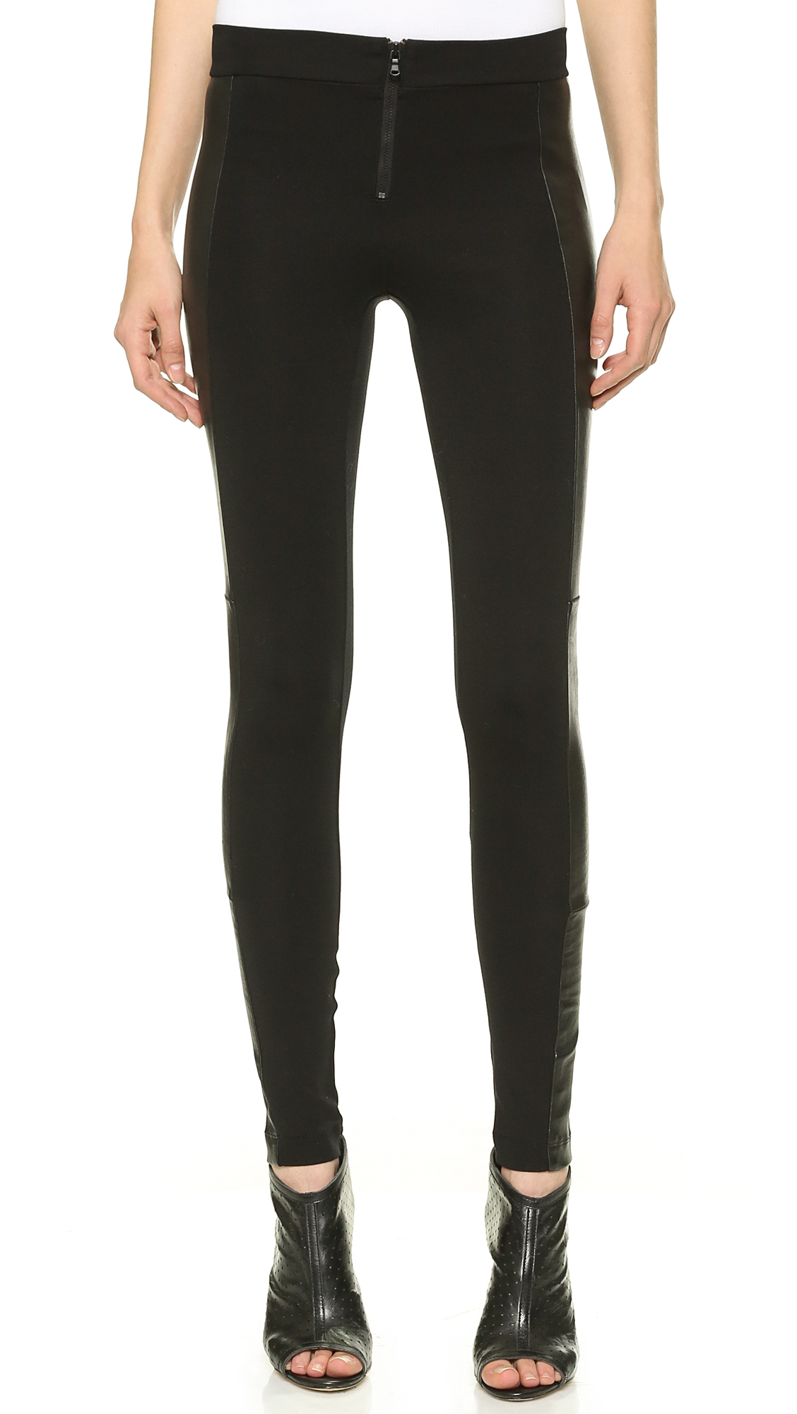 alice + olivia Front Zip Leggings with Leather Panels - Black