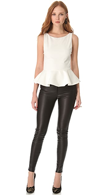 alice + olivia Sleeveless Peplum Top