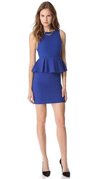 alice + olivia Pleated Peplum Dress
