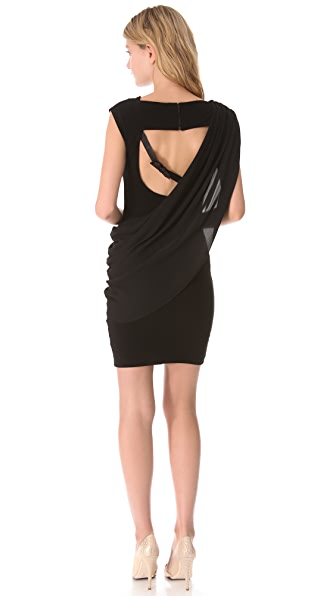 alice + olivia Buckle Strap Drape Dress
