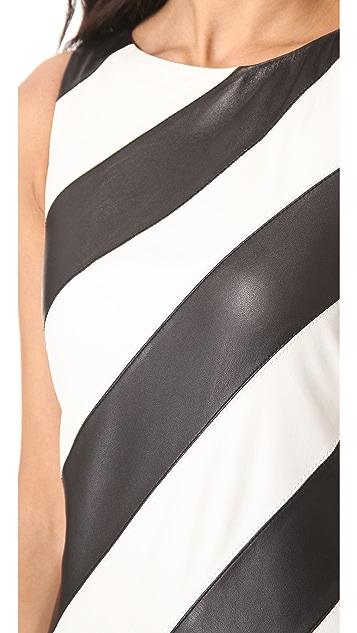 alice + olivia Leather Stripe A Line Dress