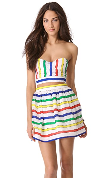 alice + olivia Striped Bustier Bra Top