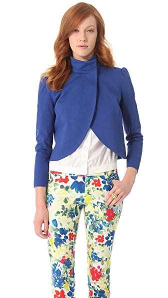 alice + olivia Puff Shoulder Crop Jacket