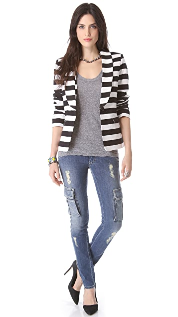 alice + olivia Strong Shoulder Striped Blazer