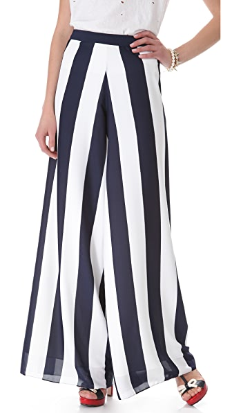 alice + olivia Super Flare Striped Pants
