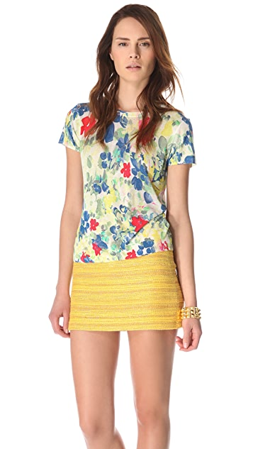 alice + olivia Short Sleeve Floral Sweater