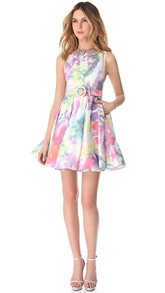 alice + olivia Floral Dress with Embellished Collar