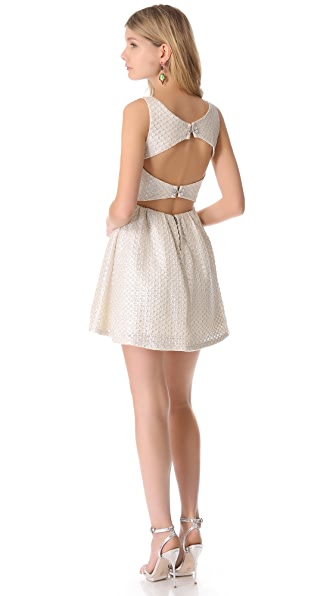 alice + olivia Boat Neck Open Back Dress