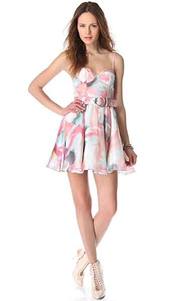 alice + olivia Sweetheart Bustier Flare Dress