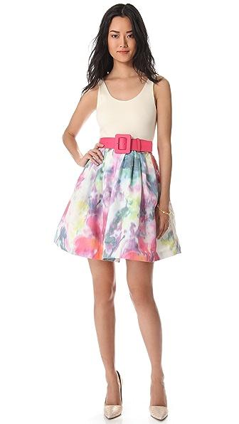 alice + olivia Scoop Neck Flare Floral Dress