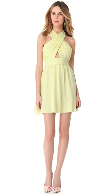 alice + olivia Wrap Bodice Dress