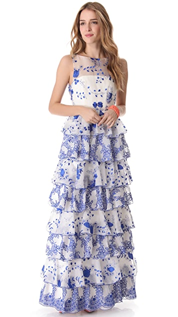 alice + olivia Dahlia Tiered Gown