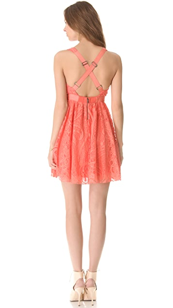 alice + olivia Cross Back Dress with Flared Skirt