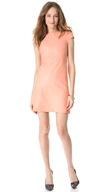 alice + olivia Leather A Line Dress