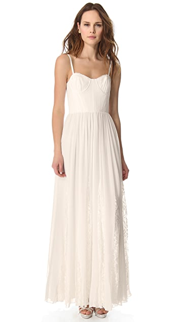alice + olivia Flare Pleat Bustier Dress
