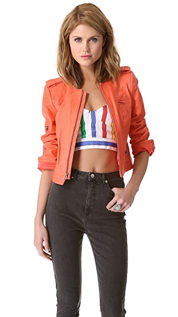 alice + olivia Zipper Sleeve Leather Moto Jacket