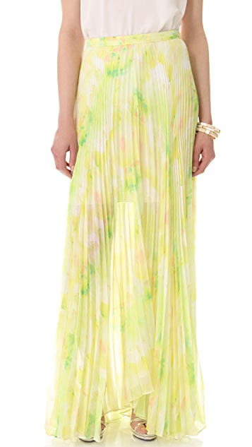alice + olivia Shannon Pleated Maxi Skirt