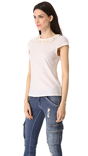 alice + olivia Anja Embellished Collar Top