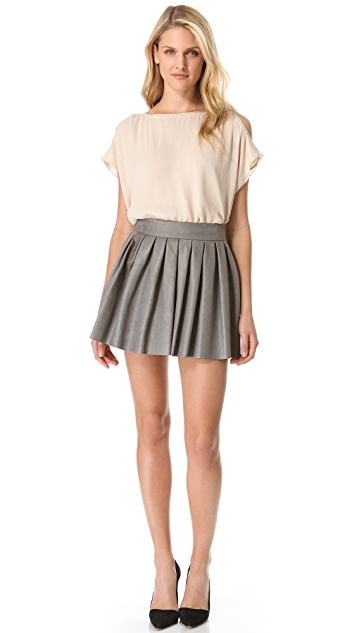 alice + olivia Box Pleat Leather Skirt
