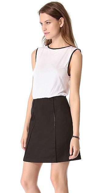 alice + olivia Leather Trim Dress