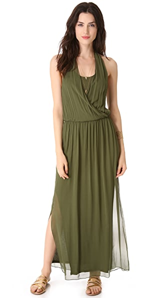alice + olivia Mora Wrap Front Halter Dress